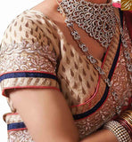 A STYLISH BAZAAR PRESENTATION TRENDY EMBROIDERED SARI WITH DESIGNER BLOUSE RTVID7155