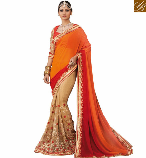 A STYLISH BAZAAR PRESENTATION SOPHISTICATED EMBROIDERED SAREE WITH DESIGNER BLOUSE RTVID7161
