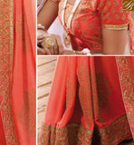 BROUGHT TO YOU BY STYLISH BAZAAR GRACEFUL PINK DESIGNER PARTY WEAR SAREE AND BLOUSE RTVID7162