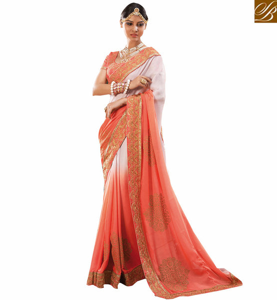 STYLISH BAZAAR GRACEFUL PINK DESIGNER PARTY WEAR SAREE AND BLOUSE RTVID7162