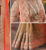 OUTSTANDING CREAM SARI BLOUSE DESIGN RTVID7164 ORANGE $ CREAM