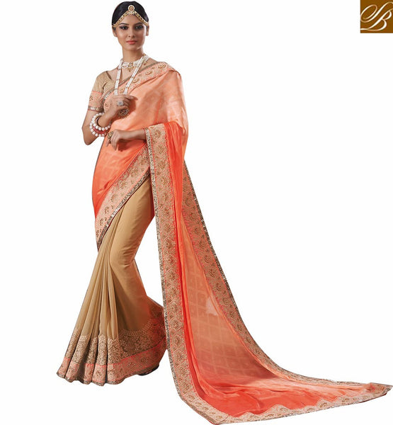 STYLISH BAZAAR OUTSTANDING CREAM SARI BLOUSE DESIGN RTVID7164