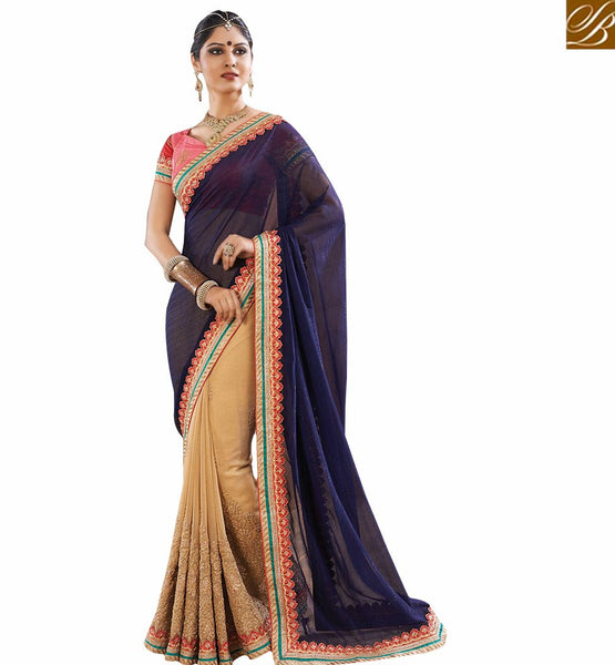BROUGHT TO YOU BY STYLISH BAZAAR MAJESTIC HALF AND HALF CREAM AND NAVY BLUE DESIGNER  SARI RTVID7166