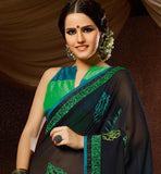 BLACK & GREEN GEORGETTE CASUAL WEAR SAREE RTAH716