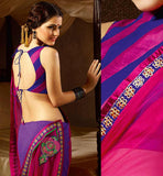 PINK & PURPLE GEORGETTE CASUAL WEAR SAREE RTAH717