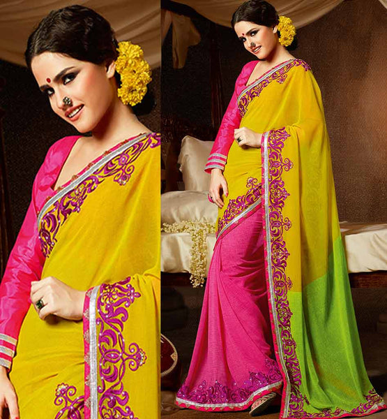 YELLOW & PINK GEORGETTE CASUAL WEAR SAREE RTAH718