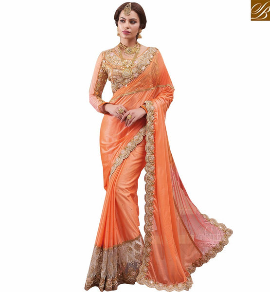 LOVELY ORANGE DESIGNER GEORGETTE SAREE WITH HEAVILY EMBROIDERED BLOUSE RTHYT7200 ORANGE SARI CREAM BLOUSE