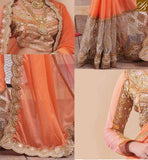 FROM STYLISH BAZAAR LOVELY ORANGE DESIGNER GEORGETTE SAREE WITH HEAVILY EMBROIDERED BLOUSE RTHYT7200