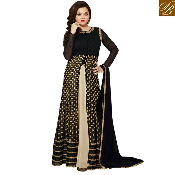 CELEBRITY DANCER AND JHALAK DIKHLA JAA WINNER DRASHTI DHAMI SUPERB ANARKALI DRESS DESIGNER BLACK & OFF WHITE GEORGETTE ANARKALI SALWAR KAMEEZ WITH CHIFFON DUPATTA