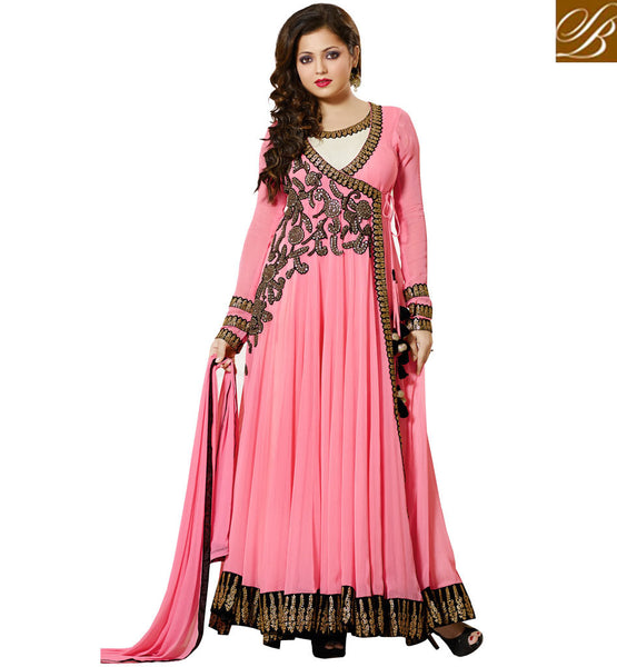 DRASHTI DHAMI AKA DR. MUSKAN CHADDHA FROM DIL MIL GAYE YELLOW AND CREAM DRESS INCREDIBLE PINK GEORGETTE ANARKALI SALWAR KAMEEZ WITH CHIFFON DUPATTA