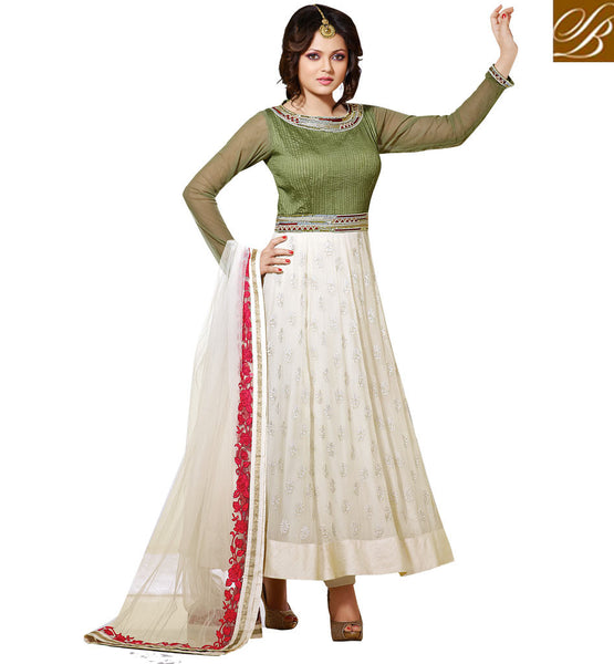 DRASHTI DHAMI AKA GEET FROM GEET HUI SABSE PARAYI  DESIGNER DRESS MIND-BLOWING OFF WHITE & GREEN GEORGETTE ANARKALI SALWAR KAMEEZ WITH CHIFFON DUPATTA