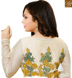 MAGNIFICENT OFF WHITE & YELLOW GEORGETTE ANARKALI SALWAR KAMEEZ WITH CHIFFON DUPATTA KALIDAR STYLE ANARKALI DRESS WITH FULL SLEEVE EMBROIDERY WORK JACKET. THE DRESS CAN BE WORN WITHOUT THE KOTI.