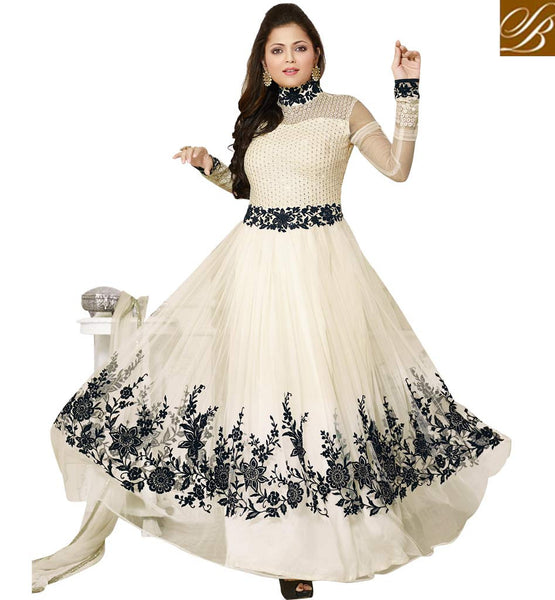 TELEVISION PRESENTER DRASHTI DHAMI GREEN AND LIGHT CHIKOO LEHENGA CHOLI  SPECTACULAR CREAM NET ANARKALI SALWAR KAMEEZ WITH LOVELY CHIFFON DUPATTA