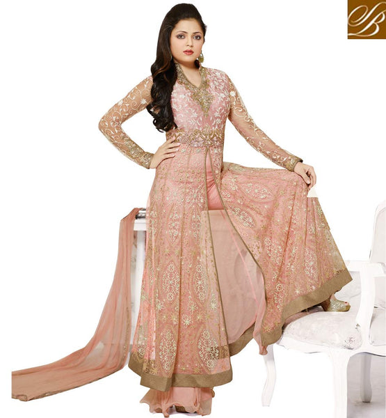 DRASHTI DHAMI AKA MADHUBALA GEORGETTE STRAIGHT CUT SUIT STUPENDOUS LIGHT ONION PINK  NET ANARKALI SALWAR KAMEEZ WITH CHIFFON DUPATTA
