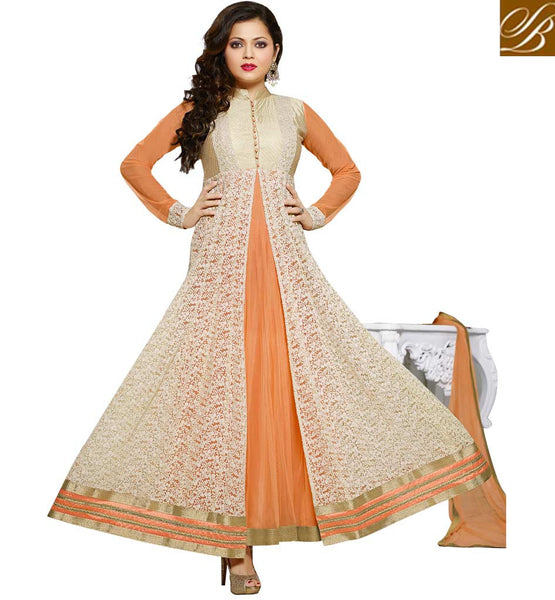 MADHUBALA CATALOG BLACK NET STRAIGHT CUT SUIT WITH SANTOON SALWAR AND ODHNI  REMARKABLE CREAM & ORANGE NET ANARKALI SALWAR KAMEEZ WITH CHIFFON DUPATTA