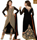 MADHUBALA CREAM NET DRESS WITH LIGHT CHIKOO INNER STUNNING BLACK GEORGETTE SALWAR KAMEEZ WITH GOOD-LOOKING CHIFFON DUPATTA
