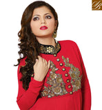 AWESOME RED GEORGETTE ANARKALI SALWAR KAMEEZ WITH CHIFFON DUPATTA STUNNING NECKLINE WITH SMALL AND LARGE TIKI WORK. SUPERB STONEWORK, SEQUINS AND ZARI PATCH WORK ON YOKE PORTION AND LARGE BUTTONS THAT STEALS THE SHOW
