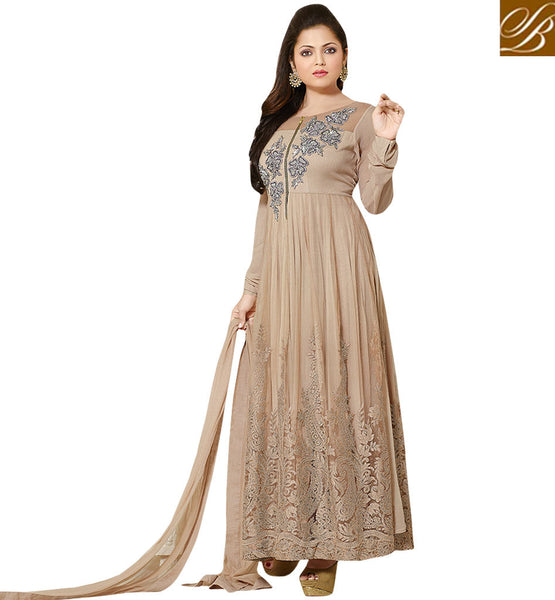 INDIAN TELEVISION CELEB DRASHTI DHAMI BEIGE GEORGETTE DRESS BEAUTIFUL BEIGE NET ANARKALI SALWAR KAMEEZ WITH CHIFFON DUPATTA
