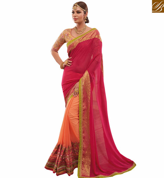 A STYLISH BAZAAR PRESENTATION SPECTACULAR ORANGLE EMBROIDERED SARI BLOUSE DESIGN RTHYT7206