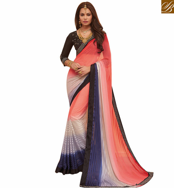 A STYLISH BAZAAR PRESENTATION APPEALING GEORGETTE SAREE ALONG WITH ART SILK BLOUSE RTHYT7211