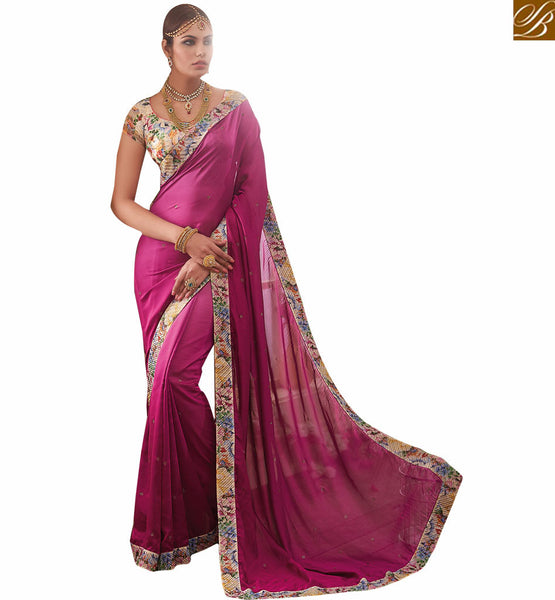 BROUGHT TO YOU BY STYLISH BAZAAR PLEASING GEORGETTE DESIGNER SARI AND ART SILK BLOUSE RTHYT7212
