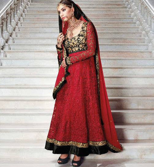 DESIGNER MAROON & BLACK ANARKAI SUIT FLAE7262A - stylishbazaar - wedding dress, cheap wedding dresses, designer wedding dresses, indian wedding dresses, wedding dress designers, indian wedding clothing, Indian Wedding Wear