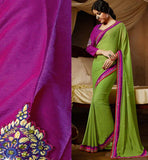 GREEN GEORGETTE CASUAL WEAR SAREE RTAH726