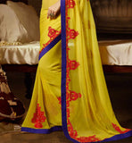 YELLOW GEORGETTE CASUAL WEAR SAREE RTAH728