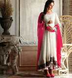 WONDERFUL WHITE RAKUL PREET SINGH ANARKALI DRESS FLRP7294