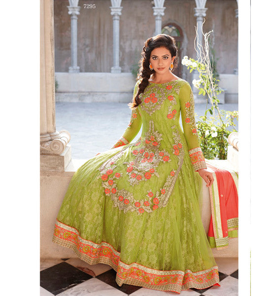 GLAMOROUS GREEN NET RAKUL PREET SINGH ANARKALI DRESS FLRP7295 - STYLISHBAZAAR - Yaariyan, Rakul Preet, Rakul, Rakhool, Rakul Preet Signh Dresses, salwar kameez online, designer salwar suits, online salwar kameez, party dresses india, party wear dresses| Jinaam Dresses | Floral Dresses | Long Anarkali