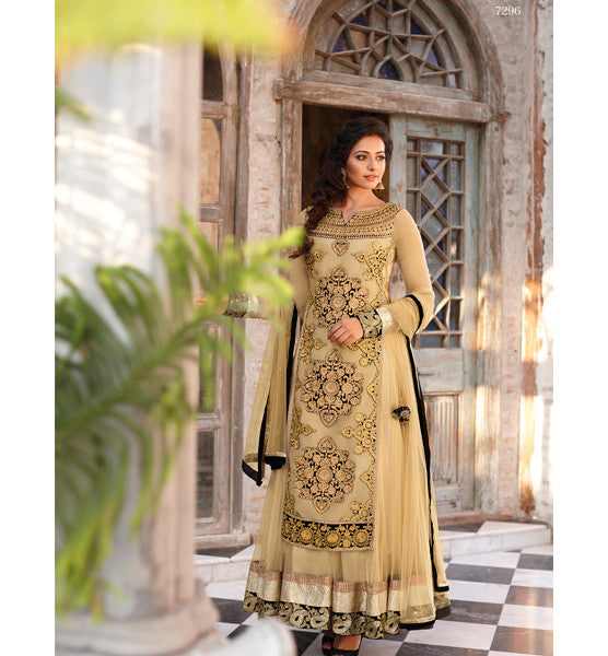 DESIGNER FAWN RAKUL PREET SINGH ANARKALI DRESS FLRP7296 - STYLISHBAZAAR - DESIGNER INDIAN COLLECTION - BOLLYWOOD DRESSES - INDIAN SALWAR SUIT DRESSES| Jinaam Dresses | Floral Dresses | Long Anarkali