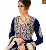 FROM STYLISH BAZAAR WONDERFUL BLUE VELVET PARTY WEAR LEHENGA STYLE SUIT FLCE7299