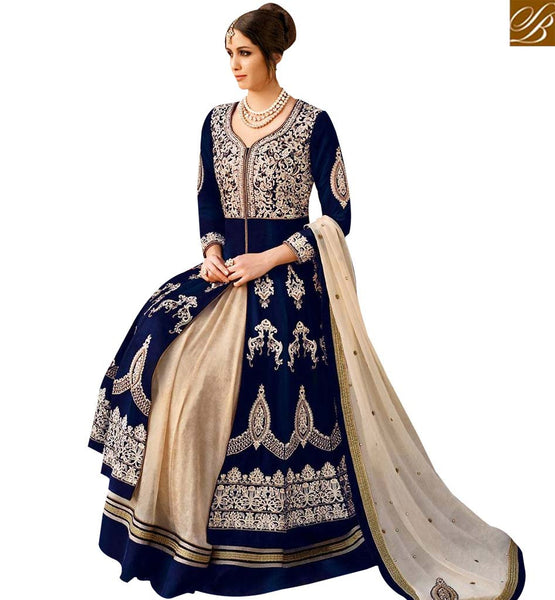 STYLISH BAZAAR WONDERFUL BLUE VELVET PARTY WEAR LEHENGA STYLE SUIT FLCE7299