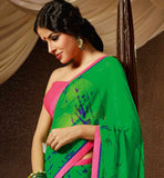 GREEN GEORGETTE CASUAL WEAR SAREE RTAH729