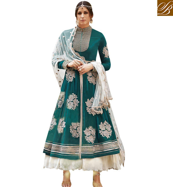 STYLISH BAZAAR SEA GREEN GEORGETTE DESIGNER SUIT HEAVY EMBROIDERED WORK WITH LEHENGA STYLE FLCE7300
