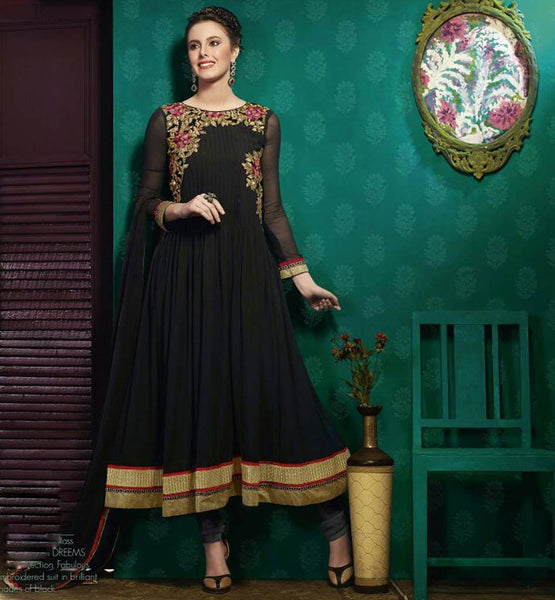 BUY PARTY WEAR BLACK ANARKALI DRESS AT LOW PRICE WITH CASH ON DELIVERY