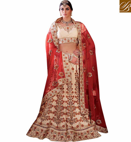 GLAMOROUS HEAVILY EMBROIDERED LEHENGA SAREE RTMRR7306 BY STYLISH BAZAAR