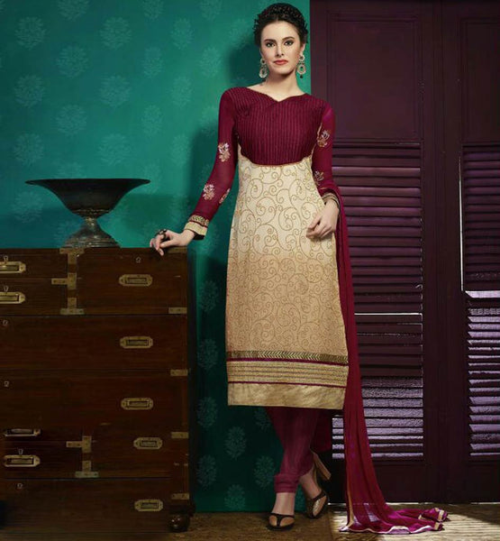 SHADED STRAIGHT SALWAR SUIT PLEATED NECKLINE & EMBROIDRED SLEEVES