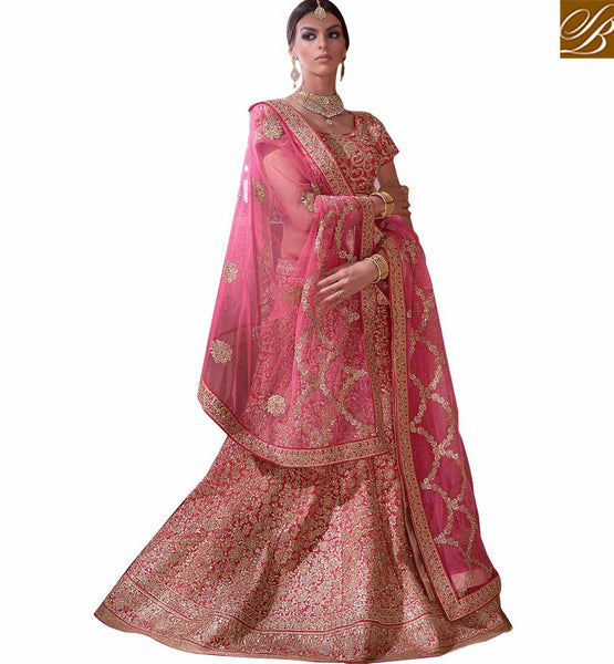 ATTRACTIVE PINK 3 PIECE LEHENGA CHOLI RTMRR7307 BY STYLISH BAZAAR