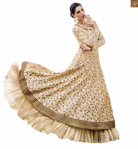 BOLLYWOOD STARLET NARGIS FAKHRI IN GLAMOROUS CREAM COLORED EMBROIDERED DESIGNER ANARKALI JNHR7321 BY STYLISH BAZAAR