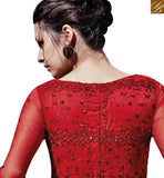 BROUGHT TO YOU BY STYLISH BAZAAR BEAUTIFUL RED COLOUR STONE WORK LATEST GOWN STYLE SUIT FLCE7364