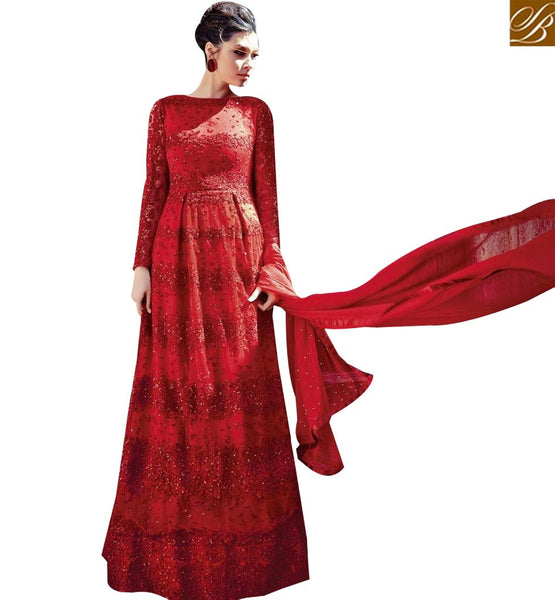 STYLISH BAZAAR BEAUTIFUL RED COLOUR STONE WORK LATEST GOWN STYLE SUIT FLCE7364