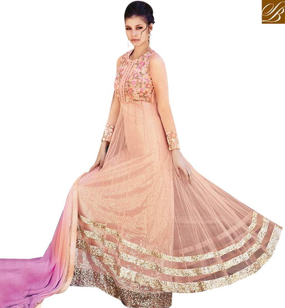 STYLISH BAZAAR ELEGANT AND BEAUTIFUL PEACH COLOUR NET PARTY WEAR GOWN FLCE7366