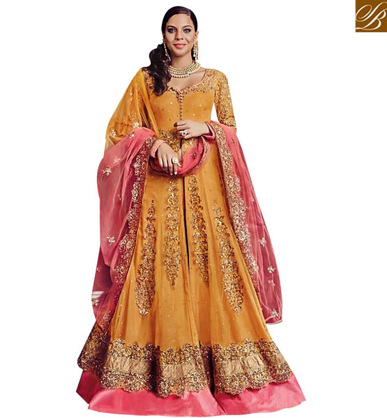 STYLISH BAZAAR GORGEOUS ORANGE EMBROIDERY GOWN STYLE SUIT FLCE7368