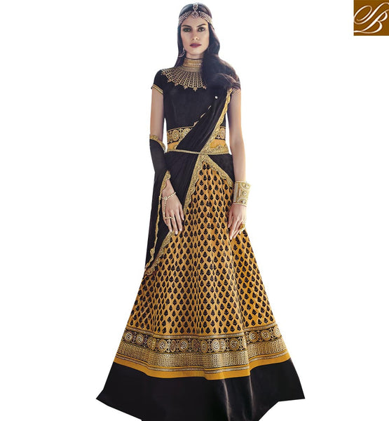 STYLISH BAZAAR APPEALING BLACK GEORGETTE ANARKALI DESIGNER SALWAR KAMEEZ WITH PATCH WORK ON NECK FLCE7373