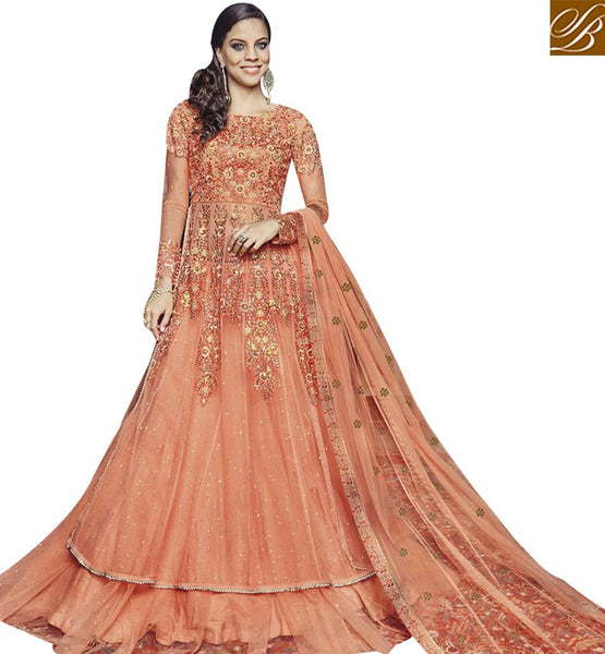 STYLISH BAZAAR STUNNING ORANGE NET EMBROIDERED SUIT HAVING FLORAL EMBROIDERY ON CHEST WITH FULL SLEEVES FLCE7374