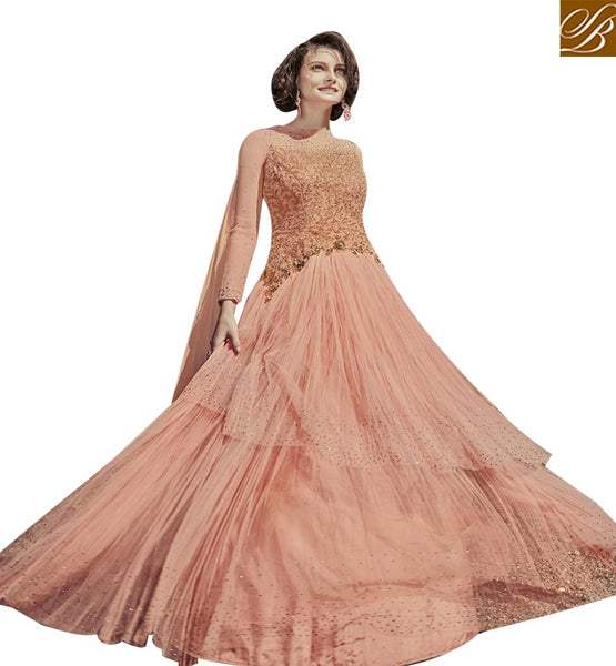 BUY GORGEOUS PEACH GEORGETTE GOWN STYLE SALWAR KAMEEZ FROM STYLESH BAZAAR FLCE7378
