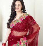 RAVISHING RED RICH-LOOK DESIGNER ZAREEN KHAN SAREE VSES7407 - Stylishbazaar - Zareen Khan, latest bollywood sarees, bollywood sarees online, Bollywood Designer Sarees, buy bollywood sarees Online, indian sari