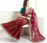 MAJESTIC MAROON ZAREEN KHAN SAREE VSES7410 - STYLISHBAZAAR - ZAREEN KHAN, BOLLYWOOD SAREES, Ethnicity  Collection, Desinger Bollywood Sarees,saree buy online, indian saree buy online, sarees buy online, indian saree online, saree blouse design , buy sarees online