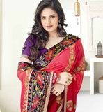 EYE-CATCHING RED & CREAM ZAREEN KHAN SARI VSES7415 - STYLISHBAZAAR - ZAREEN KHAN, BOLLYWOOD SAREES, Ethnicity  Collection, buy designer sarees online, designer Sarees Online Shopping, designer sarees buy online, designer saree buy online, buy online designer sarees, Indian Designer Sarees